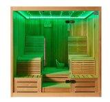 Santé romantique menteuse et cabine chaude M-6050 d'éclairage LED de position des couples deux de sauna de loisirs