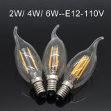bombilla de la lámpara E12 LED luz de la vela del filamento de la lámpara de iluminación