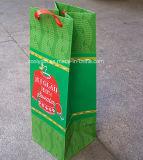 Sac de papier personnalisé par qualité de vin de cadeau lustré de bouteille