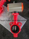 압축 공기를 넣은 액추에이터를 가진 연성이 있는 철 웨이퍼 나비 벨브