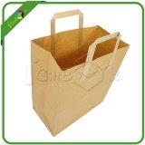 平らなギフトのためのハンドルによってクラフト印刷されるブラウンの紙袋