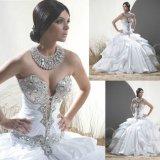 Abito di cerimonia nuziale increspato nuziale di cristallo dell'abito di sfera del vestito da cerimonia nuziale dell'innamorato H1527