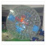 Bola de rodillo inflable transparente por encargo del PVC con insignia