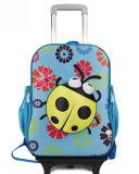 Bolso de escuela con el equipaje, morral, carretilla, recorrido