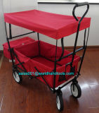 Blue Folding Wagon All Purpose Garden Utility Shopping Travel Cart