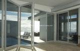 Portas de dobradura de alumínio de vidro instaladas rápidas do dobro luxuoso da classe