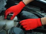 Волокно Banboo и связанные Spandex работая перчатки с покрытием нитрила пены (N1576)