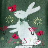 Kind-Strickjacke-Mädchen Intarsia Kaninchen scherzt Strickjacke