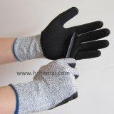 Guanto del lavoro di sicurezza dei guanti di effetto di Tagliare-Resistenza ricoperto nitrile di Hppe