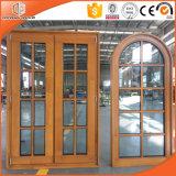 Janela de cassete redondo redondo Janela de madeira maciça de madeira de madeira de madeira de enxarter, janela de madeira com grade total grande