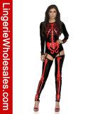 섹시한 여자의 멋진 해골 인쇄 Bodysuit 복장