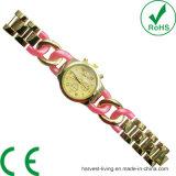 Reloj neutral del corchete de Bracelete del cuarzo del botón del Aleación-Anillo del Multi-Estilo colorido del movimiento