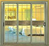Porte coulissante d'Aluiminum de Champagne d'interruption thermique de luxe de couleur avec la glace teintée
