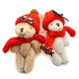 赤い帽子のサングラスのキーホルダー袋の魅力のテディー・ベア