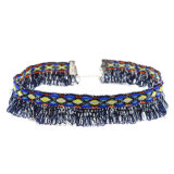 Navy Blue Silver Color Tassel Pendants를 가진 Women를 위한 최신유행 보헤미아 Style Handmade Colorful Geometric Pattern Choker Necklaces