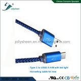 Het Mannetje van het type C aan USB 2.0 Male Gegevens en Charging Kabel met Nylon en LEIDEN Licht