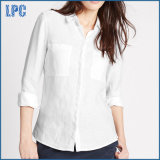 方法女性の純粋なリネン長い袖のワイシャツ
