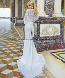 Spitze-Flügel-Hülsen-Hochzeits-Kleid-Taft-neue Brautkleider Z2044