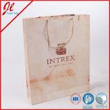La nature Brown a estampé des sacs en papier d'achats avec le traitement de cordon de chanvre de nature