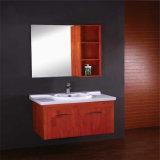 新しいデザイン構成のミラーが付いている木製の浴室用キャビネット
