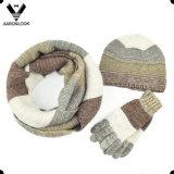 2016 최신 판매 최신유행 남녀 공통 다채로운 줄무늬 패턴 3PC 니트 겨울 세트