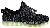 Zapatillas de deporte ligeras del calzado LED de Flyknit que funcionan con los zapatos de los deportes (816-6914)