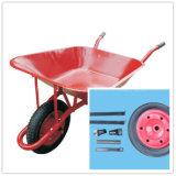 赤い塗られた金属の皿の一輪車