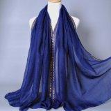 卸し売りビードの宝石類が付いているイスラム教のアラビアのHijabの綿のジャージーの無限スカーフ