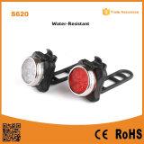 自転車防水USB再充電可能な背部(赤い) Lights&Headの(白い)ランプの循環の懐中電燈はセットをつける