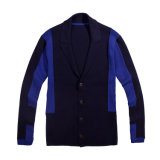 Camisola personalizada do casaco de lã dos homens da malha do colar do xaile com tecla