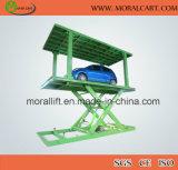 Elevador do estacionamento do carro do porão com plataforma dobro