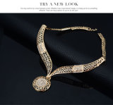 Pulsera del oro 18k pendiente del collar del anillo 4 PCS determinada de la manera Sistema de la joyería exagerada