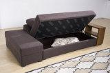 Gewebe-Sofa stellte mit Speicherungen und hölzernem Regal ein (VV1010)