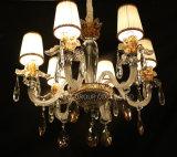 Lámpara pendiente de la decoración cristalina moderna de Swarovski con la cortina de la tela