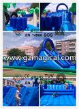 Corrediças infláveis azuis que saltam o Trampoline dos Bouncers