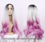 Manera de calidad superior grande de las ondas rizado gradiente peluca de pelo sintético