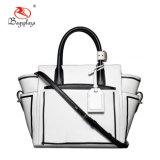 PU女性のトートバックの白く黒いハンドバッグのOlの女性袋