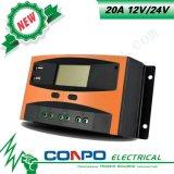 20A, 12V/24V, USB, LCD, controlador solar de PWM