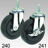 Schwarzer Gummirad-industrieller Schwenker-Schraubverschluss- Fußrolle