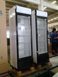 Drei Tür-Glasgetränkebildschirmanzeige-Kühlvorrichtung mit Rädern