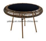 Tabela e cadeira sintéticas do Rattan da mobília barata do pátio para o restaurante com vidro preto (YT658-1)