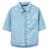 2016人の熱い女性は偶然の綿のデニムのワイシャツに服を着せる