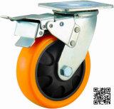 4/5/6/8インチの頑丈なオレンジPUの足車の車輪ブレーキが付いている産業PUの足車