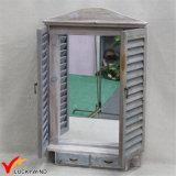 Handcrafted затрапезное деревенское деревянное зеркало формы окна с ящиком 2