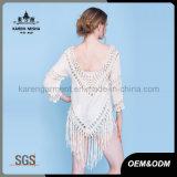여자 스페셜 뒤 디자인 프린지 단 크로셰 뜨개질 패턴 상단