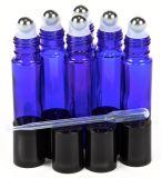 Alta qualidade, azul de cobalto, frascos de vidro do Roll-on de 10 Ml com as esferas de rolo do aço inoxidável