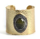 نمو مجوهرات نحاس أصفر نحاسة سوار [بنكل] مع عقيق حجر كريم