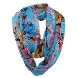 Frauen-Form-Blume gedruckter Polyester-Chiffon- Sprung-Unbegrenztheits-Schal (YKY1104)