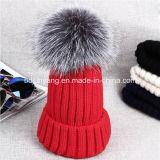 Sombrero hecho punto POM de encargo vendedor caliente de la gorrita tejida de la piel POM