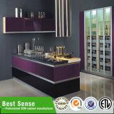 ヨーロッパ式の現代灰色の光沢のあるラッカー食器棚